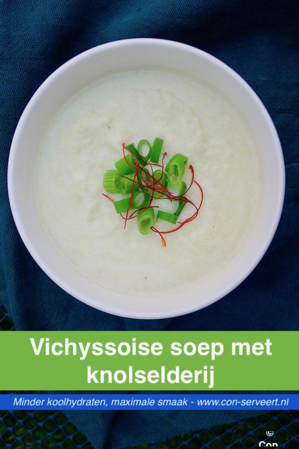 Vichyssoise soep, vegetarisch recept ~ minder koolhydraten, maximale smaak ~ www.con-serveert.nl
