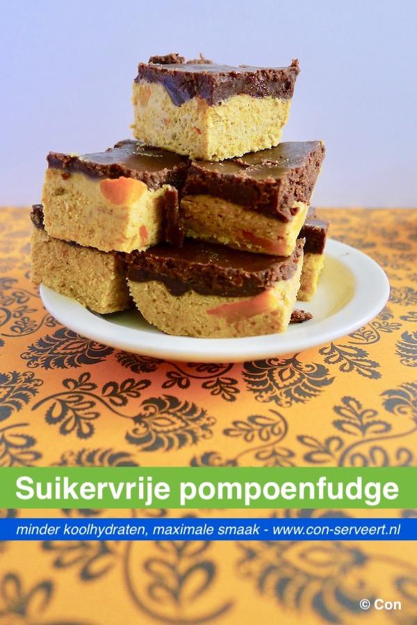 Suikervrije pompoenfudge met carob recept ~ minder koolhydraten, maximale smaak ~ www.con-serveert.nl