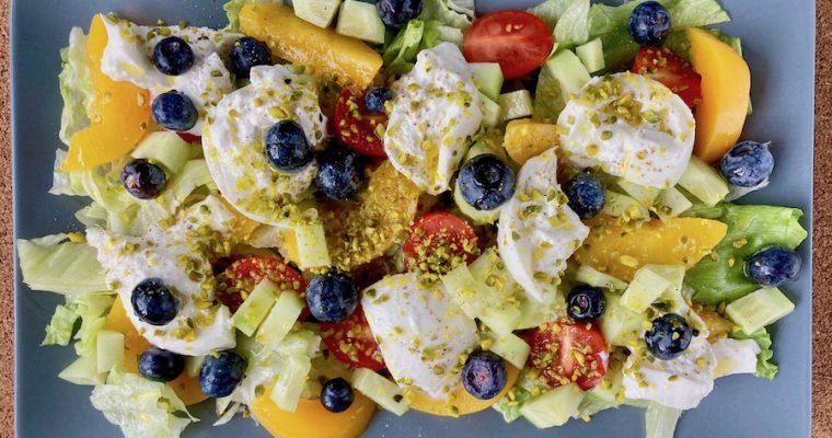Perzik tomaten salade met burrata