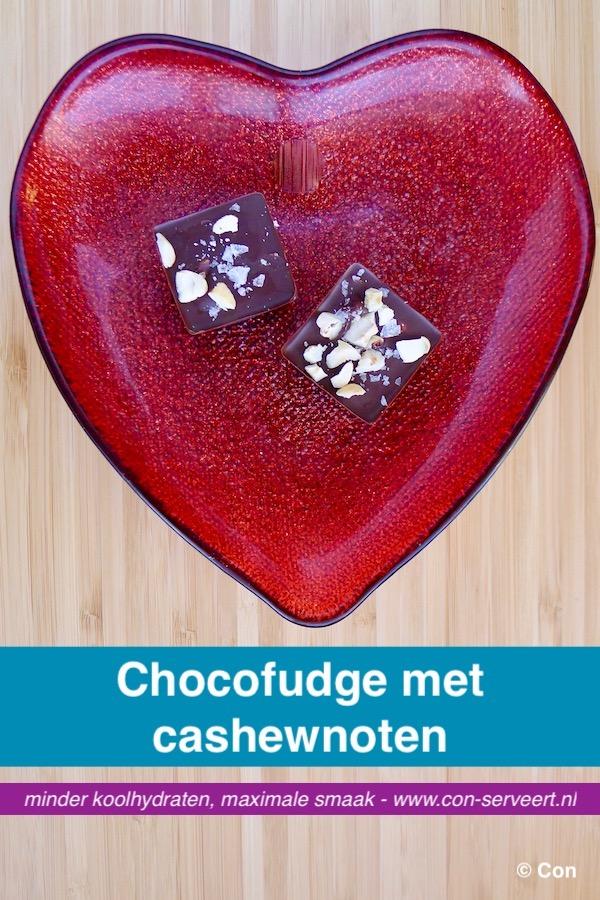Chocolade fudge met cashewnoten recept ~ minder koolhydraten, maximale smaak ~ www.con-serveert.nl