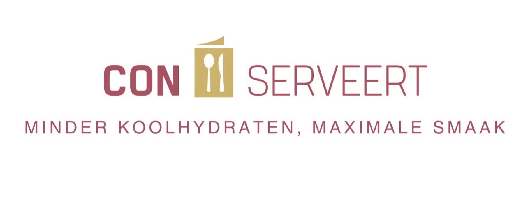 Con-serveert ~ koolhydraatarme recepten ~ logo ~ minder koolhydraten, maximale smaak ~ www.con-serveert.nl