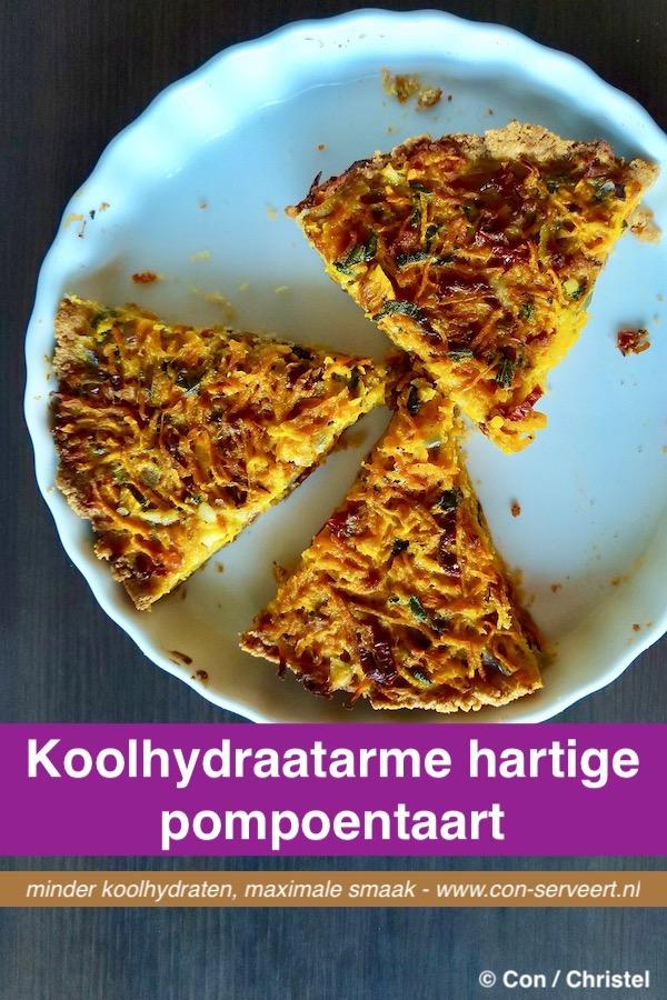 Hartige pompoentaart met salie en zongedroogde tomaat, koolhydraatarm recept ~ minder koolhydraten, maximale smaak ~ www.con-serveert.nl