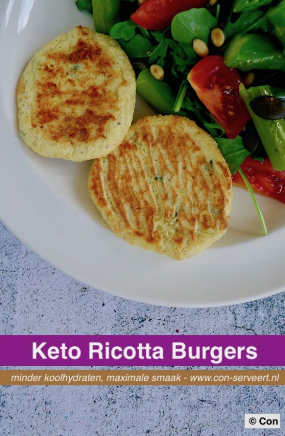 Ricotta burgers, keto recept ~ minder koolhydraten, maximale smaak ~ www.con-serveert.nl
