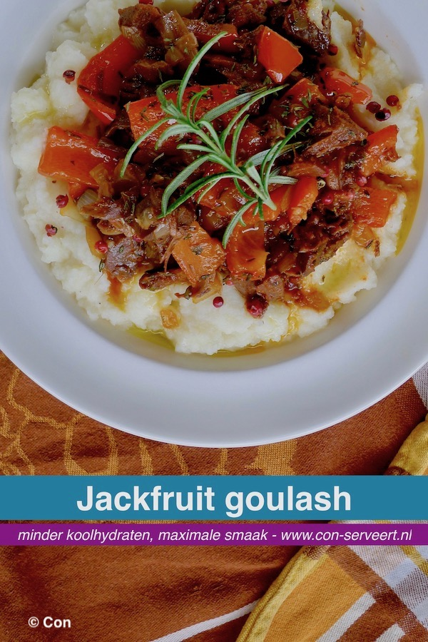 Jackfruit goulash, koolhydraatarm en vegan recept ~ minder koolhydraten, maximale smaak ~ www.con-serveert.nl